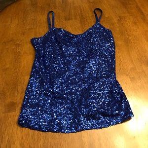 Tops - Royal blue sequins top size medium. Cute fit!